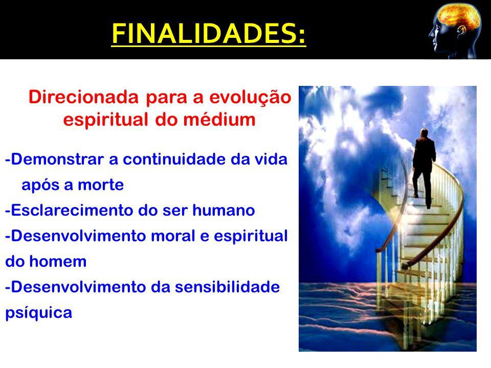 FINALIDADES: Direcionada para a evolução espiritual do médium -Demonstrar a continuidade da vida após a morte -Esclarecimento do ser humano -Desenvolv