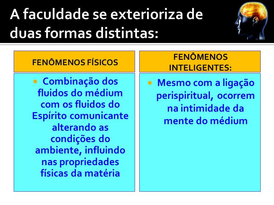 FENÔMENOS FÍSICOS  Combinação dos fluidos do médium com os fluidos do Espírito comunicante alterando as condições do ambiente, influindo nas propried