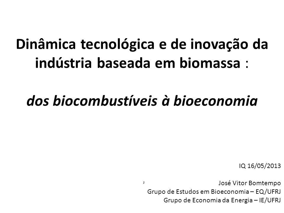 Uma nova indústria em construção Uma diversidade de soluções em andamento: – Em matérias primas; – Em tecnologias de conversão da biomassa; – Em produtos, cada vez mais diversificados; – Em modelos de negócio e estratégias de inovação, com novas estruturações das cadeias e papéis de empresas e países A variedade deve diminuir.