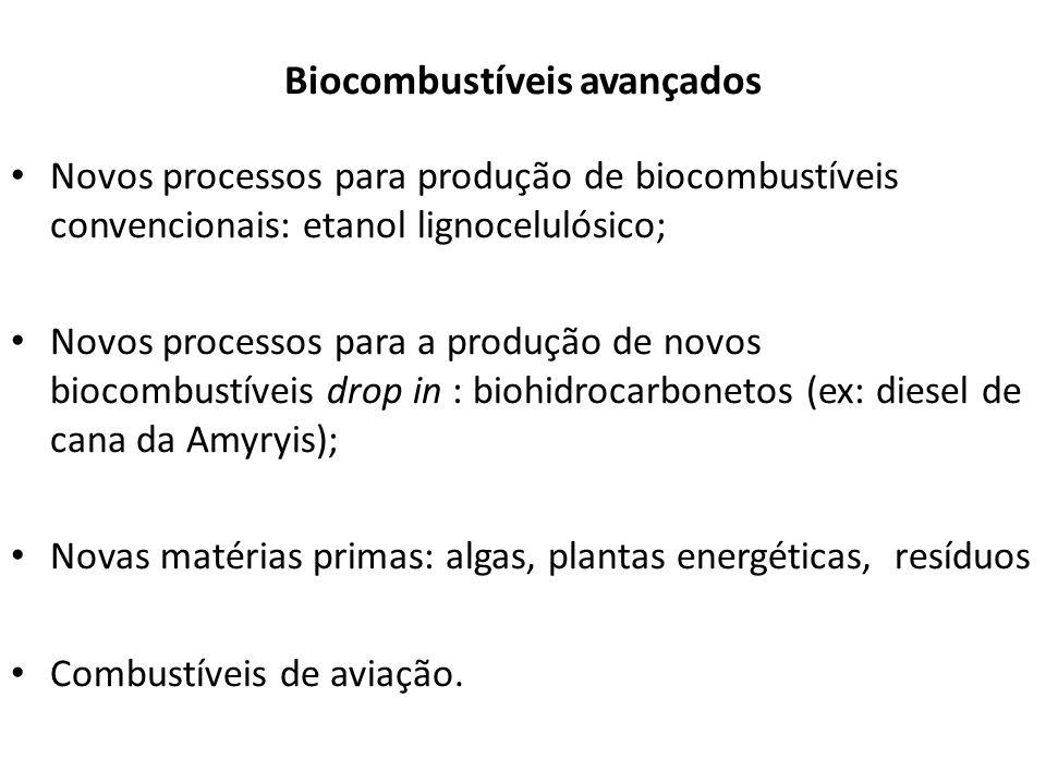 Biocombustíveis avançados Novos processos para produção de biocombustíveis convencionais: etanol lignocelulósico; Novos processos para a produção de n