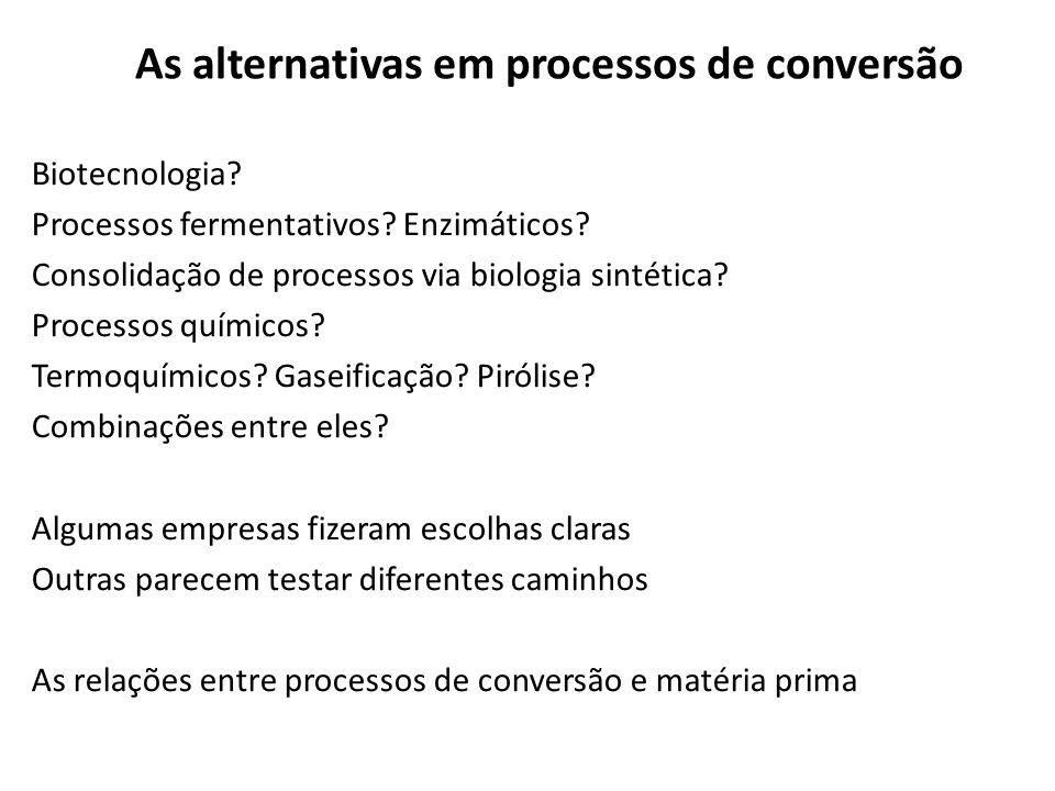 As alternativas em processos de conversão Biotecnologia? Processos fermentativos? Enzimáticos? Consolidação de processos via biologia sintética? Proce