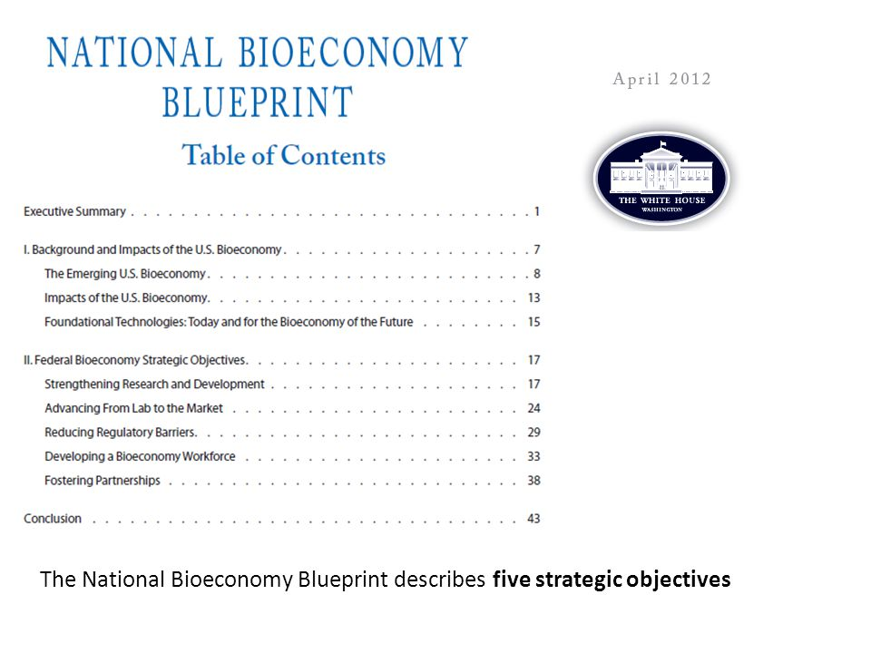 The National Bioeconomy Blueprint describes five strategic objectives