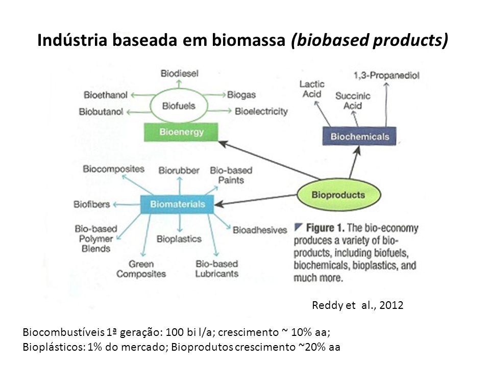 Biocombustíveis 1ª geração: 100 bi l/a; crescimento ~ 10% aa; Bioplásticos: 1% do mercado; Bioprodutos crescimento ~20% aa Reddy et al., 2012 Indústri