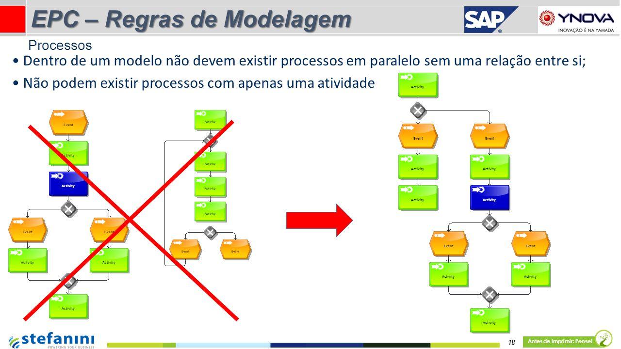 18 Antes de Imprimir: Pense! EPC – Regras de Modelagem Dentro de um modelo não devem existir processos em paralelo sem uma relação entre si; Não podem