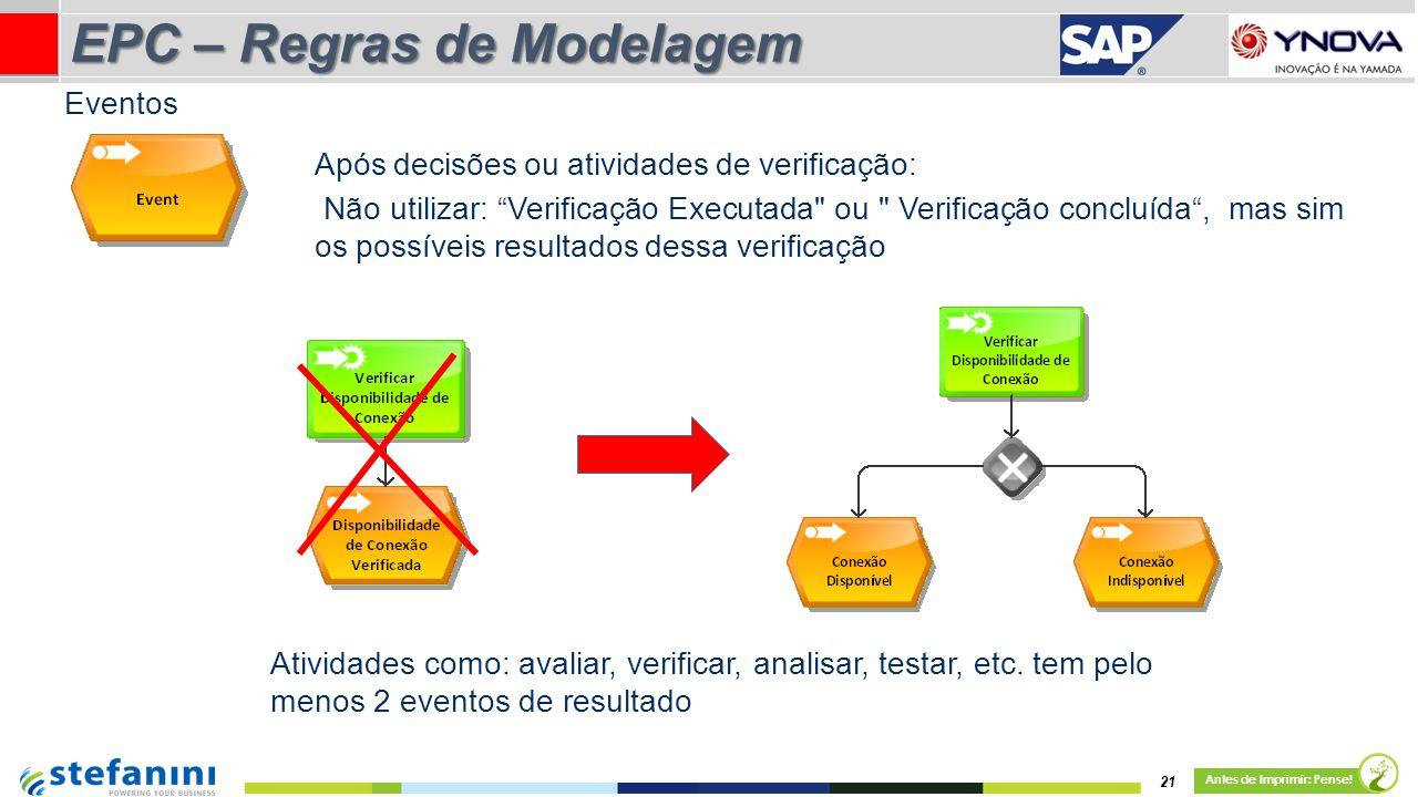 """21 Antes de Imprimir: Pense! EPC – Regras de Modelagem Após decisões ou atividades de verificação: Não utilizar: """"Verificação Executada"""