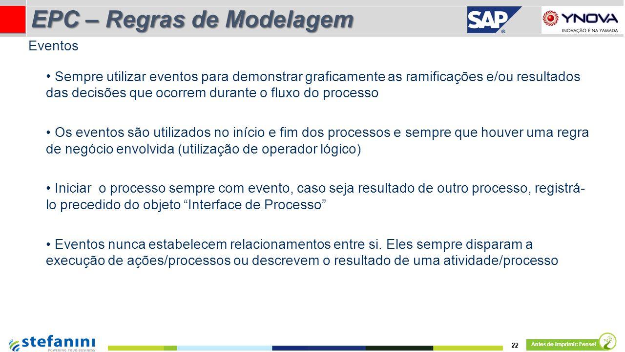 22 Antes de Imprimir: Pense! EPC – Regras de Modelagem Sempre utilizar eventos para demonstrar graficamente as ramificações e/ou resultados das decisõ