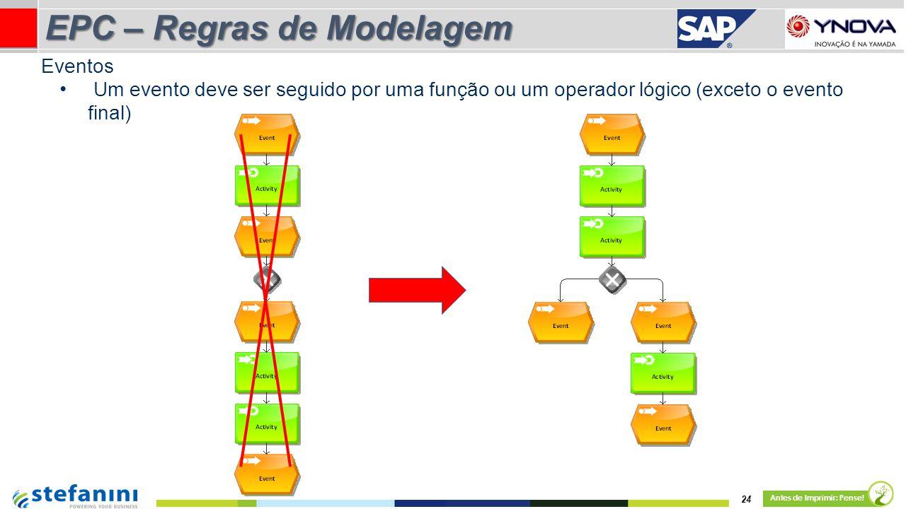 Um evento deve ser seguido por uma função ou um operador lógico (exceto o evento final) 24 Antes de Imprimir: Pense! EPC – Regras de Modelagem Eventos