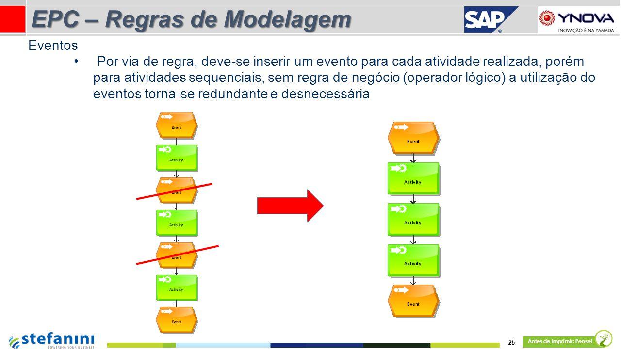 Por via de regra, deve-se inserir um evento para cada atividade realizada, porém para atividades sequenciais, sem regra de negócio (operador lógico) a