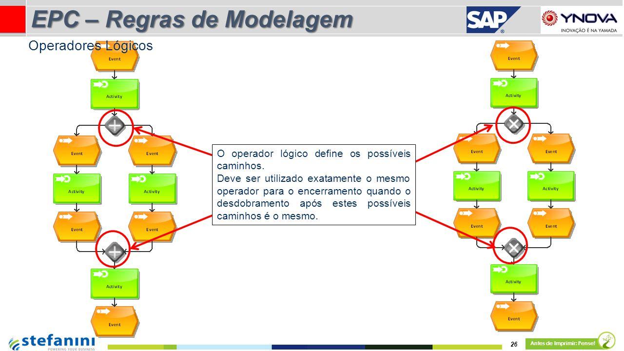 26 Antes de Imprimir: Pense! EPC – Regras de Modelagem O operador lógico define os possíveis caminhos. Deve ser utilizado exatamente o mesmo operador