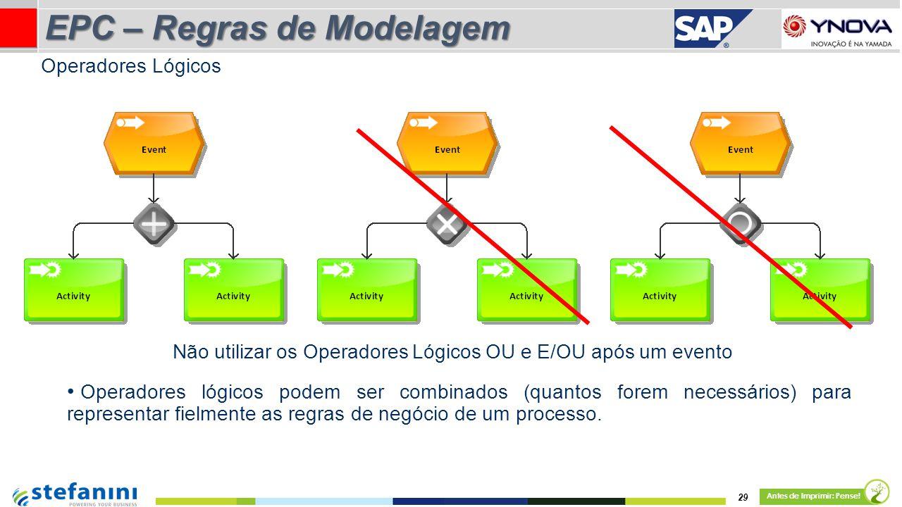 Não utilizar os Operadores Lógicos OU e E/OU após um evento Operadores lógicos podem ser combinados (quantos forem necessários) para representar fielmente as regras de negócio de um processo.