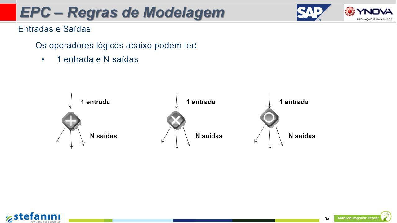 Os operadores lógicos abaixo podem ter : 1 entrada e N saídas 1 entrada N saídas 1 entrada N saídas 1 entrada N saídas 35 Antes de Imprimir: Pense! EP