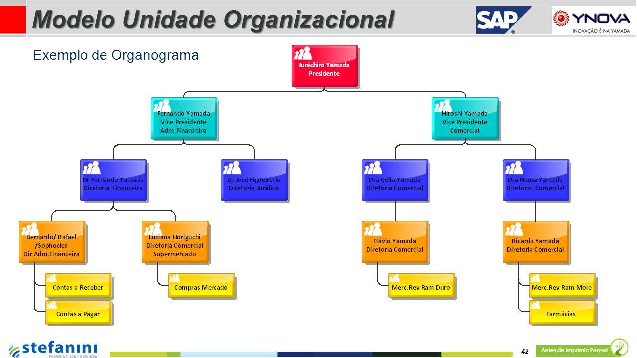 42 Antes de Imprimir: Pense! Exemplo de Organograma Modelo Unidade Organizacional