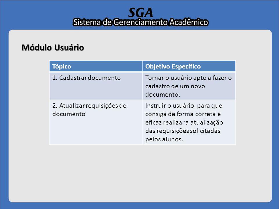 Módulo Usuário Tópico 1 - Cadastrar documento Uma vez que possua o usuário e senha, é necessário acessar a página online do software pelo endereço:.http://www.codewebsistemas.com.br/sga/cpanel/ Usuário deverá clicar em MÓDULOS > DOCUMENTOS.