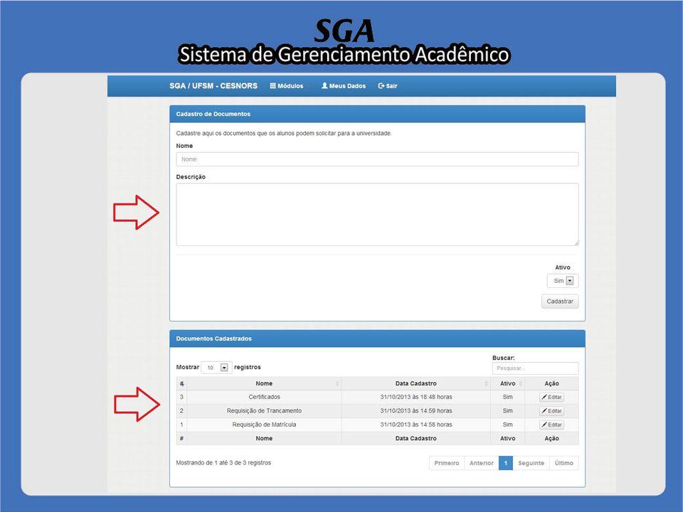 Módulo Usuário Tópico 1 - Cadastrar documento Para um novo cadastro deverá primeiramente preencher os campos nome e descrição, em seguida, selecionar se o mesmo ficará ativo sim ou não no sistema e logo após clicar no botão Cadastrar.