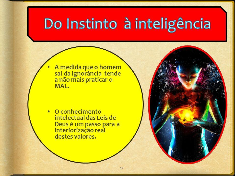  A medida que o homem sai da ignorância tende a não mais praticar o MAL.  O conhecimento intelectual das Leis de Deus é um passo para a interiorizaç