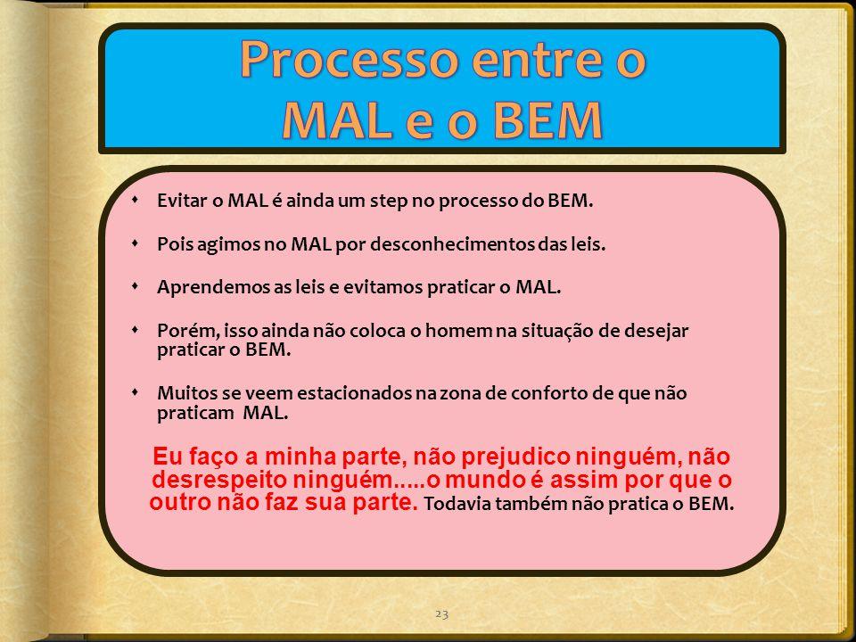  Evitar o MAL é ainda um step no processo do BEM.  Pois agimos no MAL por desconhecimentos das leis.  Aprendemos as leis e evitamos praticar o MAL.