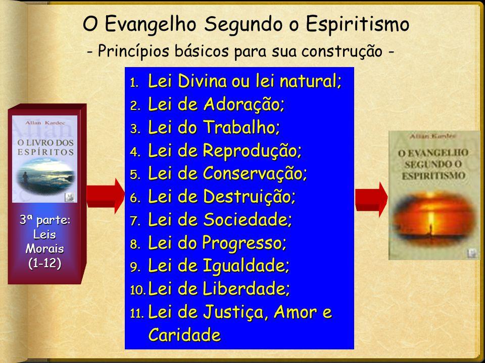 3ª parte: Leis Morais (1-12) 1. Lei Divina ou lei natural; 2. Lei de Adoração; 3. Lei do Trabalho; 4. Lei de Reprodução; 5. Lei de Conservação; 6. Lei