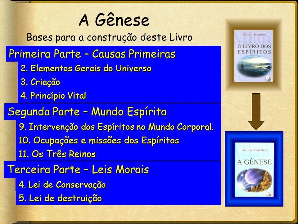 A Gênese Primeira Parte – Causas Primeiras 2. Elementos Gerais do Universo 3. Criação 4. Princípio Vital Segunda Parte – Mundo Espírita 9. Intervenção
