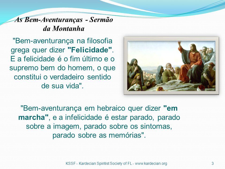FALSAS ESPERANÇAS DESEJOS IRREAIS E PREJUDICIAIS METAS E VALORES PERVERTIDOS IDÉIAS INSENSATAS EMOÇÕES DESCONTROLADAS KSSF - Kardecian Spiritist Society of FL - www.kardecian.org14