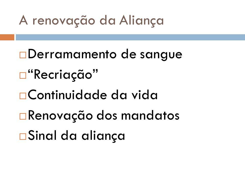 """A renovação da Aliança  Derramamento de sangue  """"Recriação""""  Continuidade da vida  Renovação dos mandatos  Sinal da aliança"""