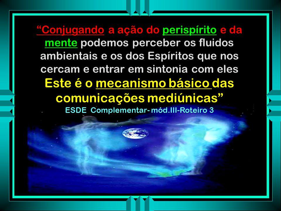 O perispírito do médium se expande O perispírito do Espírito comunicante também se expande Uma atmosfera fluidico-perispíritual comum é formada O Espí