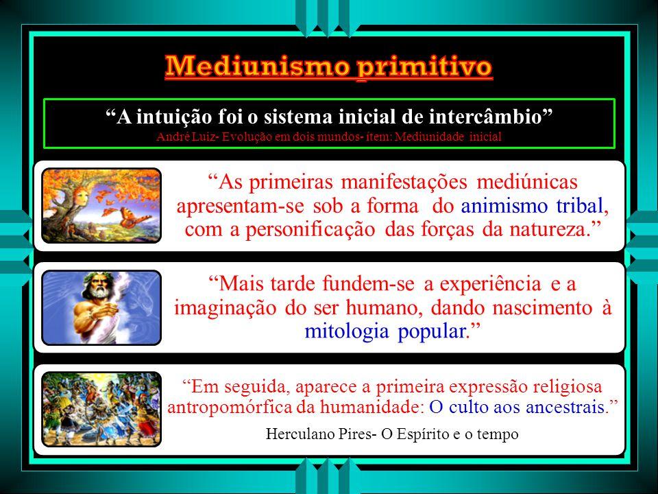 """Os fenômenos mediúnicos sempre existiram """"O fato do homem primitivo começar a sepultar os mortos é forte indício da crença na imortalidade da alma, as"""