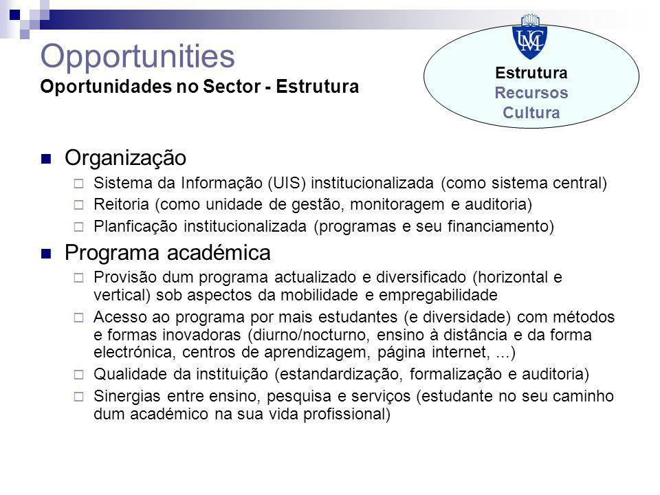 Opportunities Oportunidades no Sector - Estrutura Organização  Sistema da Informação (UIS) institucionalizada (como sistema central)  Reitoria (como