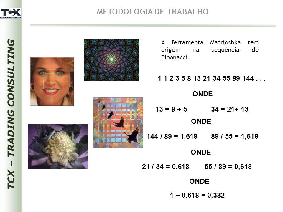 A ferramenta Matrioshka tem origem na sequência de Fibonacci. 1 1 2 3 5 8 13 21 34 55 89 144... ONDE 13 = 8 + 534 = 21+ 13 ONDE 144 / 89 = 1,61889 / 5