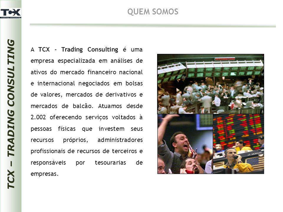 TCX – TRADING CONSULTING AÇÕES Objetivos: Público-alvo: Programa: Carga Horária:  Pessoas físicas que investem seus recursos próprios;  Administradores profissionais de recursos de terceiros;  Responsáveis por tesourarias de empresas.