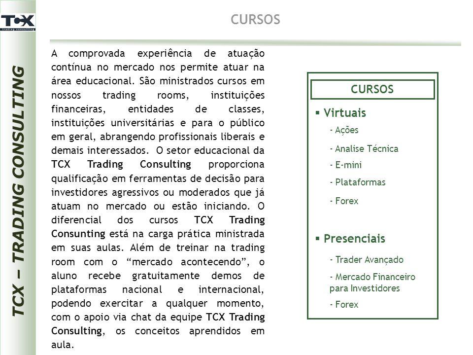 TCX – TRADING CONSULTING CURSOS A comprovada experiência de atuação contínua no mercado nos permite atuar na área educacional. São ministrados cursos