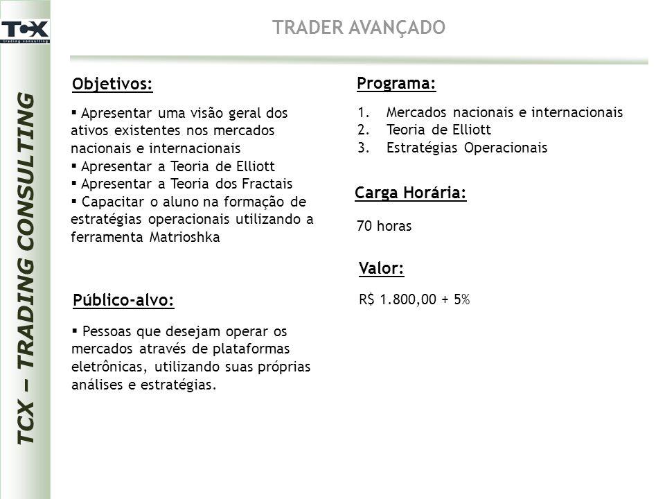 TCX – TRADING CONSULTING TRADER AVANÇADO Objetivos: Público-alvo: Programa: Carga Horária:  Pessoas que desejam operar os mercados através de platafo