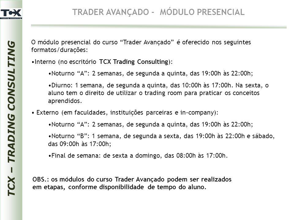 """TRADER AVANÇADO - MÓDULO PRESENCIAL O módulo presencial do curso """"Trader Avançado"""" é oferecido nos seguintes formatos/durações: Interno (no escritório"""
