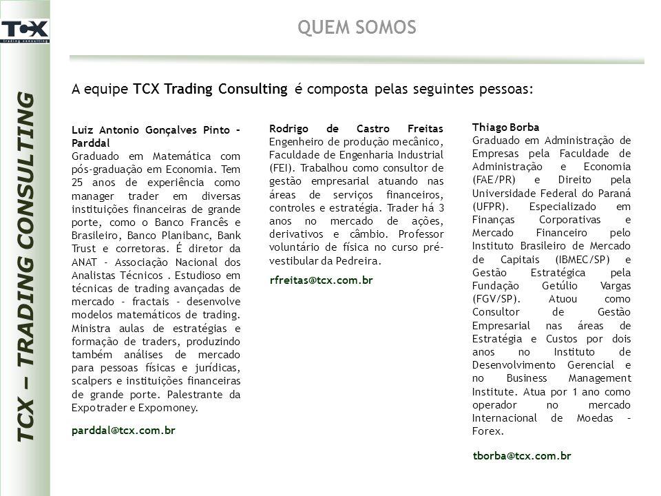 TCX – TRADING CONSULTING QUEM SOMOS A equipe TCX Trading Consulting é composta pelas seguintes pessoas: Luiz Antonio Gonçalves Pinto – Parddal Graduad