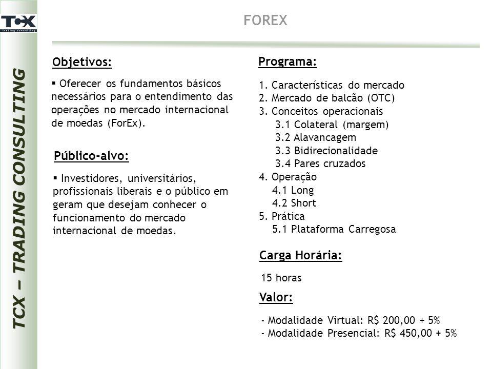 TCX – TRADING CONSULTING FOREX Objetivos: Público-alvo: Programa: Carga Horária:  Investidores, universitários, profissionais liberais e o público em