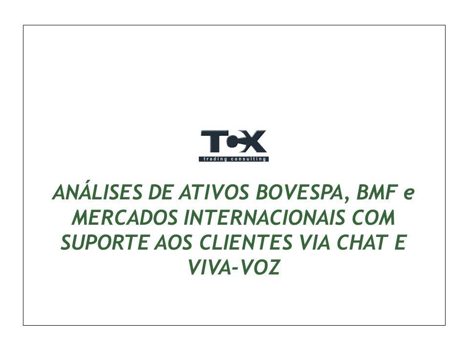 ANÁLISES DE ATIVOS BOVESPA, BMF e MERCADOS INTERNACIONAIS COM SUPORTE AOS CLIENTES VIA CHAT E VIVA-VOZ