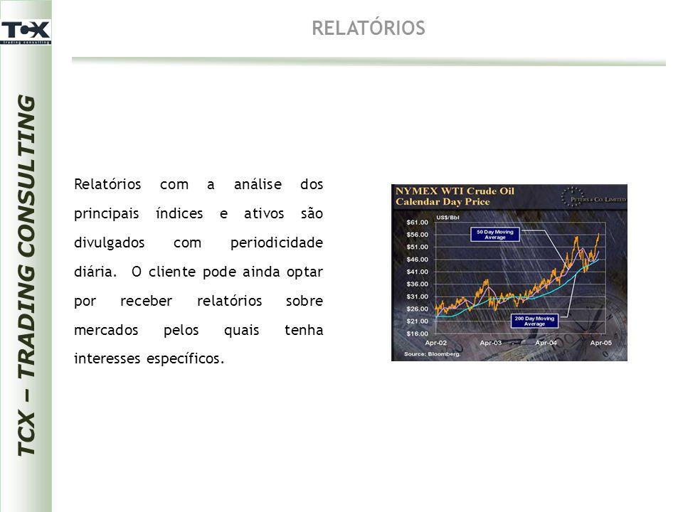 TCX – TRADING CONSULTING RELATÓRIOS Relatórios com a análise dos principais índices e ativos são divulgados com periodicidade diária. O cliente pode a