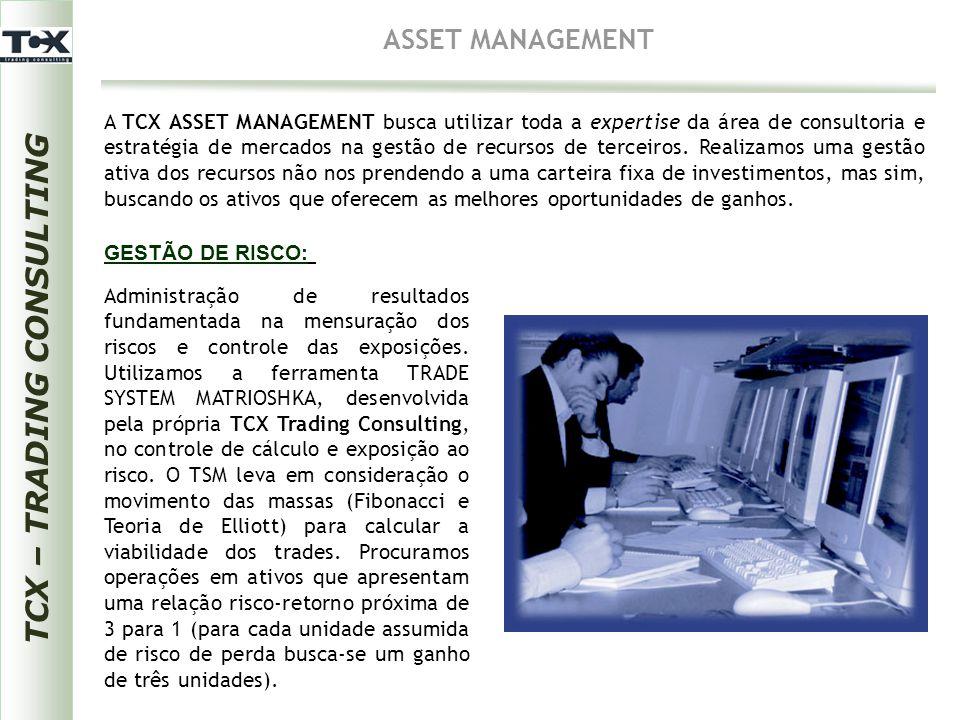 TCX – TRADING CONSULTING ASSET MANAGEMENT A TCX ASSET MANAGEMENT busca utilizar toda a expertise da área de consultoria e estratégia de mercados na ge