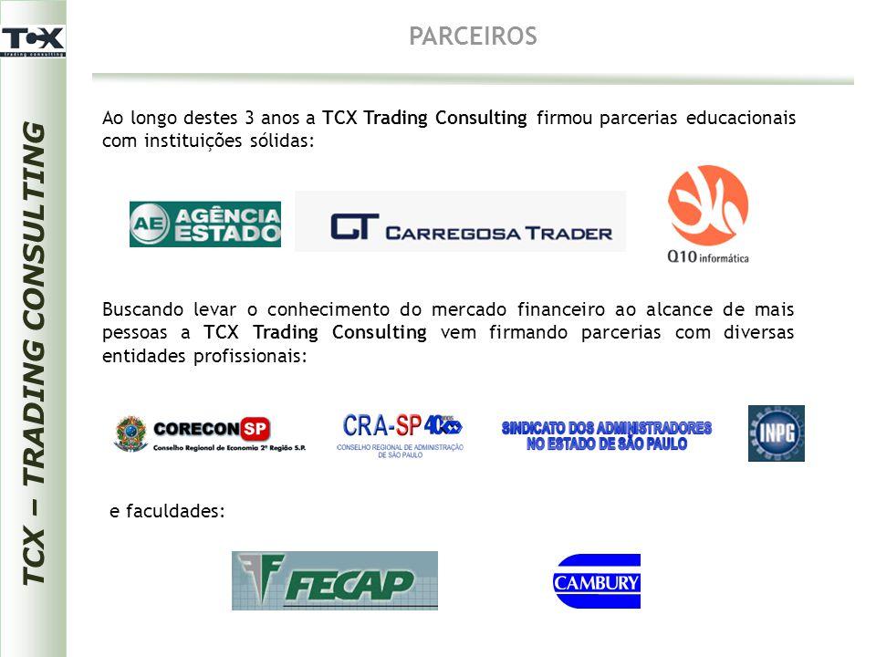 TCX – TRADING CONSULTING CURSOS CONSULTORIA ASSET  Virtuais - Ações - Análise Técnica - E-mini - Plataformas  Presenciais - Trader Avançado - Mercado Financeiro para Investidores - Forex - Indicação de Corretoras - Forex - Trade System Eletrônico - Análises de Ativos BOVESPA, BMF e Mercados Internacionais com suporte aos clientes via Chat e Viva-voz - Relatórios de Análises de Ativos BOVESPA, BMF e Mercados Internacionais - Mercado de Renda Variável Nacional: BOVESPA e BMF TCX PRODUTOS - Mercado de Renda Variável Internacional: CFDs de ADRs de empresas brasileiras