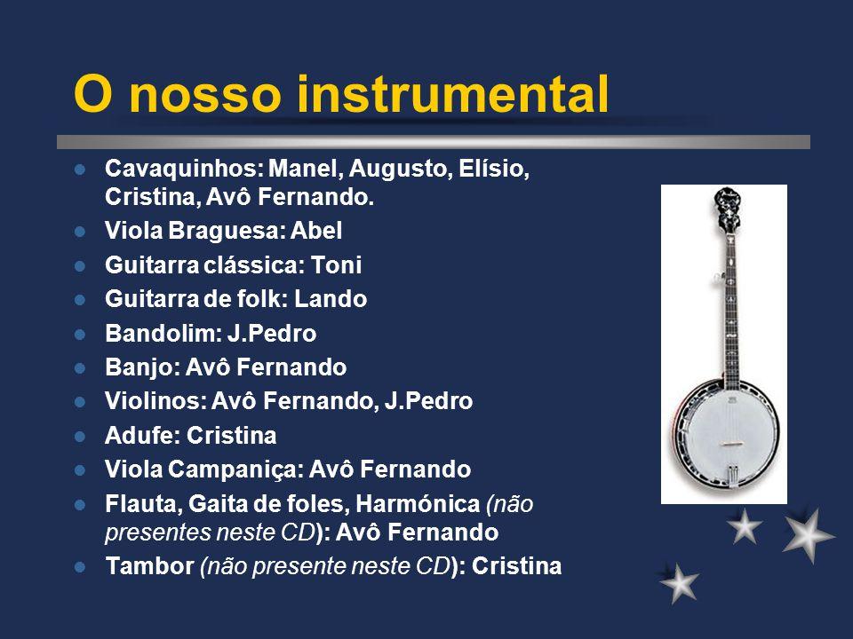 O nosso instrumental Cavaquinhos: Manel, Augusto, Elísio, Cristina, Avô Fernando. Viola Braguesa: Abel Guitarra clássica: Toni Guitarra de folk: Lando