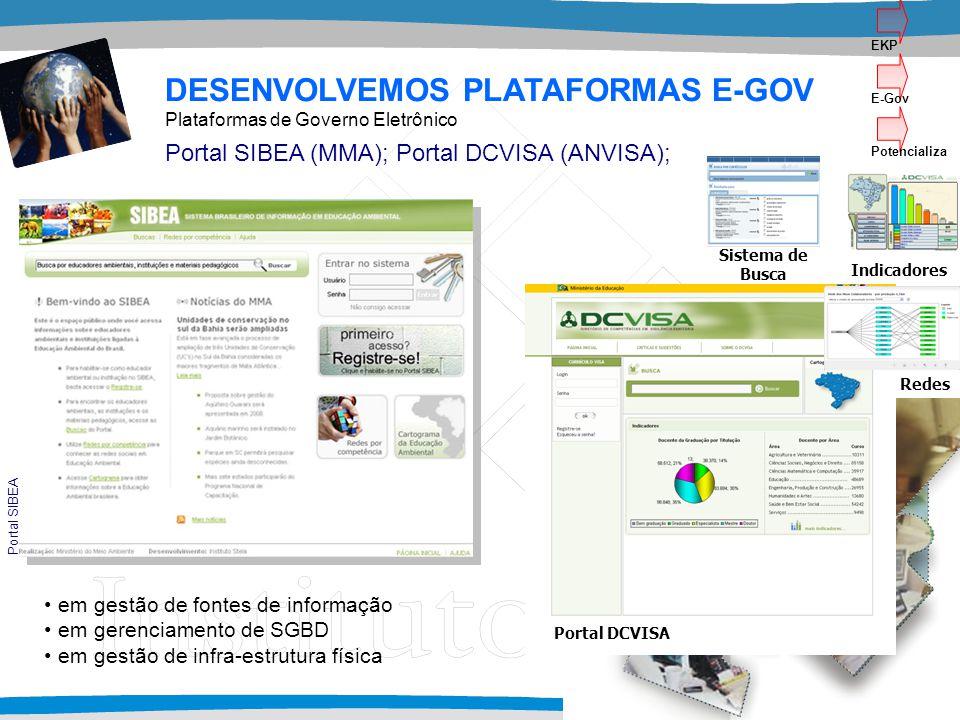 em gestão de fontes de informação em gerenciamento de SGBD em gestão de infra-estrutura física DESENVOLVEMOS PLATAFORMAS E-GOV Portal SIBEA (MMA); Por