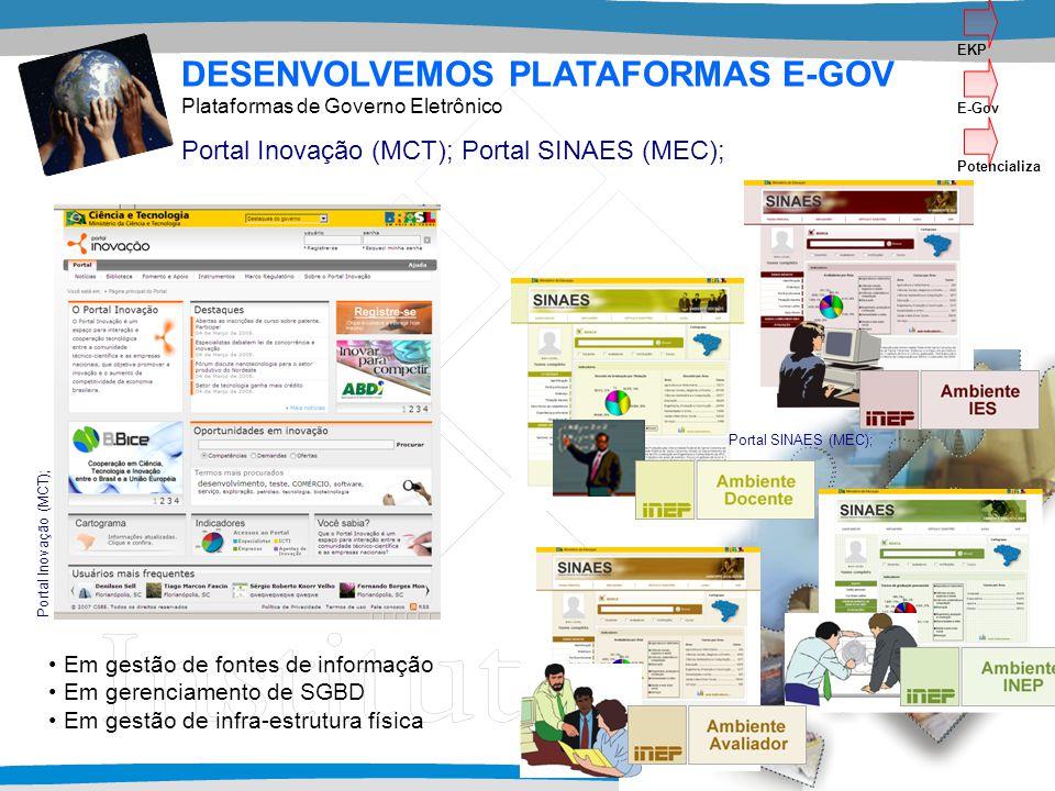 Em gestão de fontes de informação Em gerenciamento de SGBD Em gestão de infra-estrutura física DESENVOLVEMOS PLATAFORMAS E-GOV Portal Inovação (MCT); Portal SINAES (MEC); Plataformas de Governo Eletrônico Portal Inovação (MCT); Portal SINAES (MEC); EKP E-Gov Potencializa