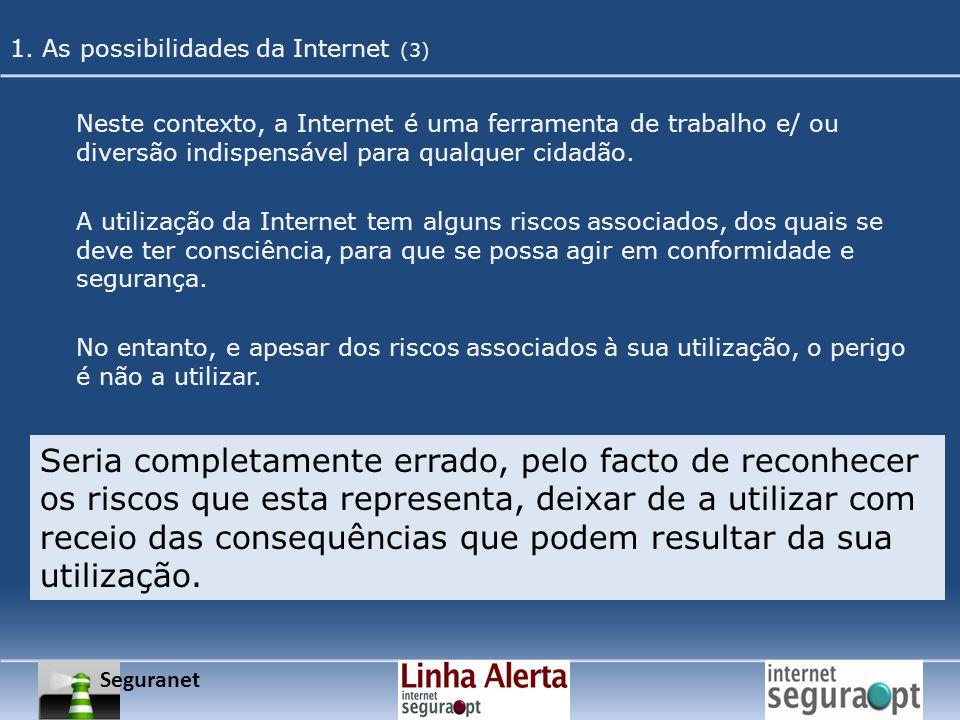 Neste contexto, a Internet é uma ferramenta de trabalho e/ ou diversão indispensável para qualquer cidadão. A utilização da Internet tem alguns riscos