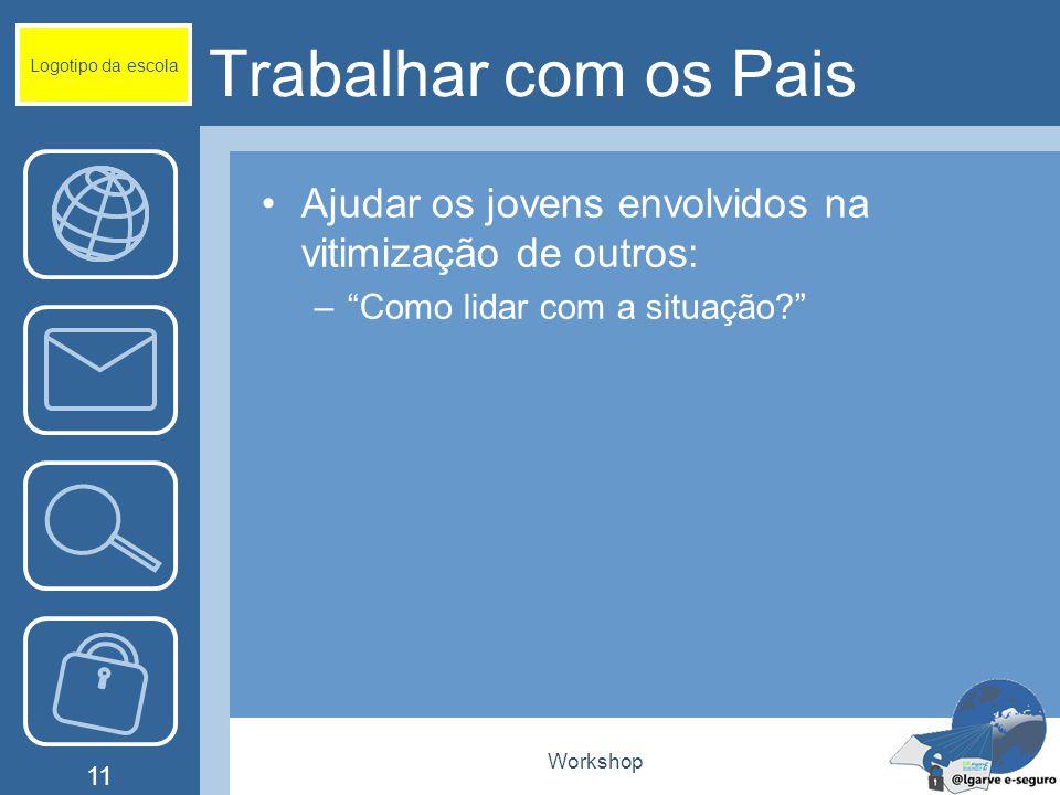 Workshop 11 Trabalhar com os Pais Ajudar os jovens envolvidos na vitimização de outros: – Como lidar com a situação? Logotipo da escola