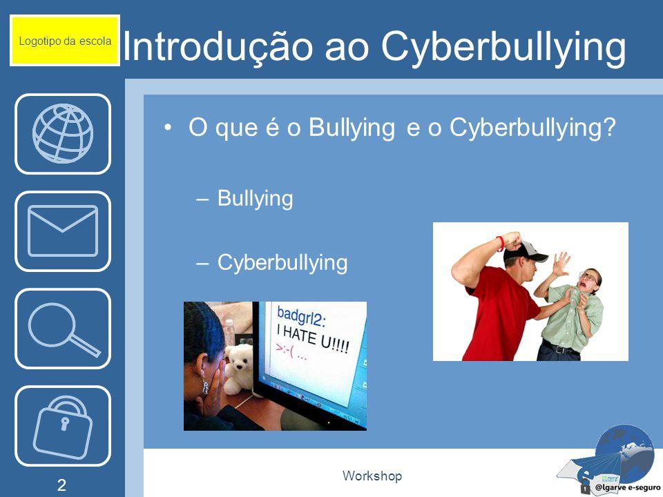 Workshop 2 Introdução ao Cyberbullying O que é o Bullying e o Cyberbullying? –Bullying –Cyberbullying