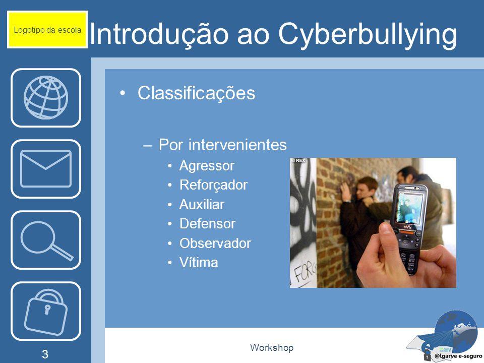 Workshop 4 Introdução ao Cyberbullying Classificações –Pelo tipo de meio SMS MMS Telefonemas Correio electrónico Salas de conversação Mensagens Instantâneas Páginas da Internet Logotipo da escola