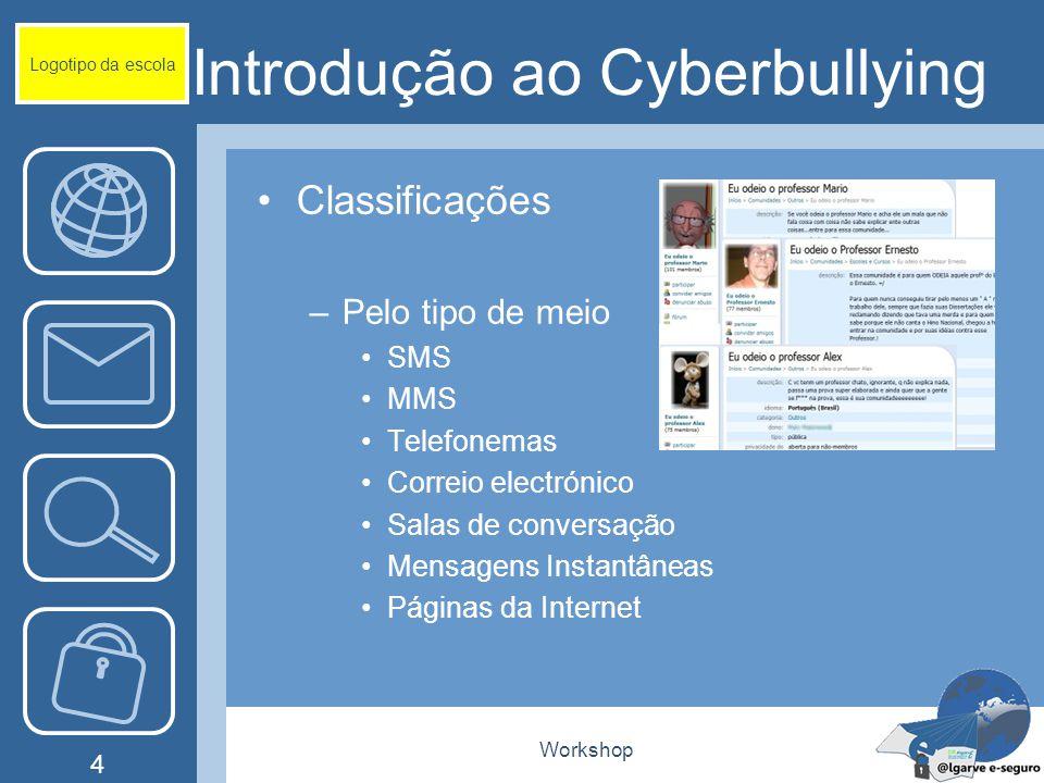 Workshop 4 Introdução ao Cyberbullying Classificações –Pelo tipo de meio SMS MMS Telefonemas Correio electrónico Salas de conversação Mensagens Instan