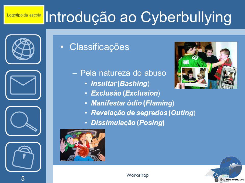 Workshop 5 Introdução ao Cyberbullying Classificações –Pela natureza do abuso Insultar (Bashing) Exclusão (Exclusion) Manifestar ódio (Flaming) Revelação de segredos (Outing) Dissimulação (Posing) Logotipo da escola