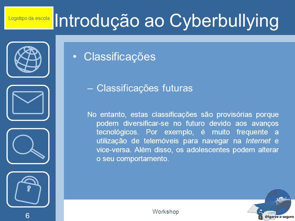 Workshop 6 Introdução ao Cyberbullying Classificações –Classificações futuras No entanto, estas classificações são provisórias porque podem diversific