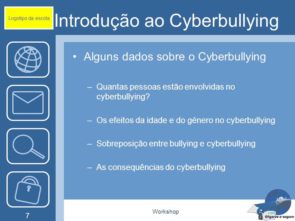 Workshop 7 Introdução ao Cyberbullying Alguns dados sobre o Cyberbullying –Quantas pessoas estão envolvidas no cyberbullying? –Os efeitos da idade e d