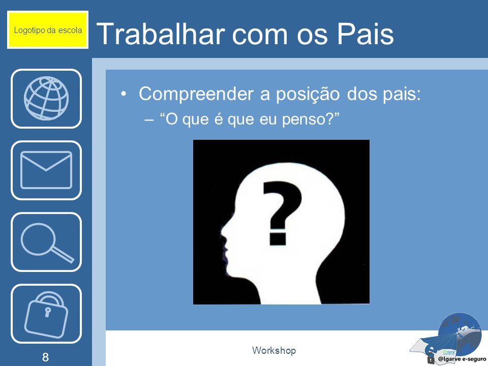 Workshop 8 Trabalhar com os Pais Compreender a posição dos pais: – O que é que eu penso? Logotipo da escola